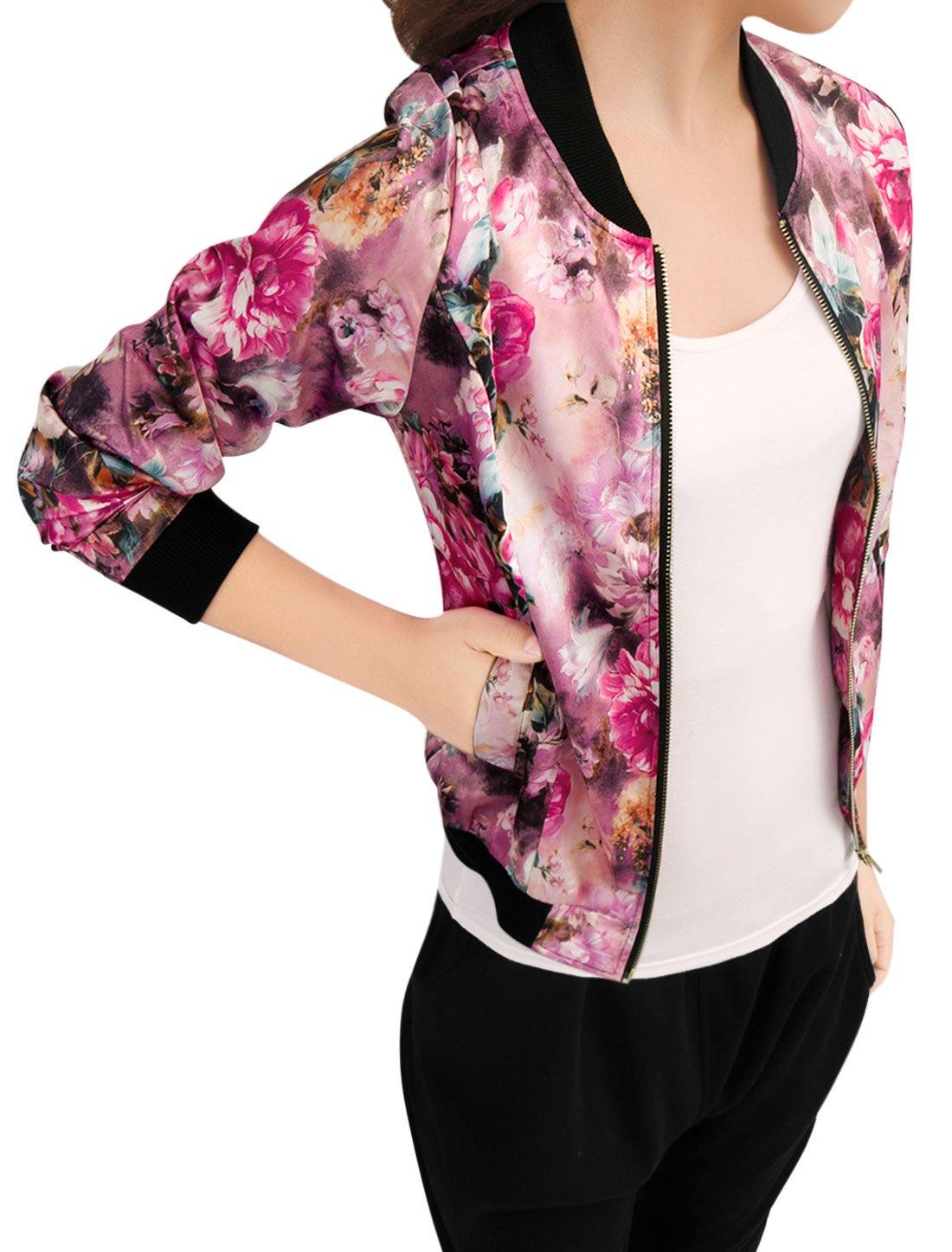 Allegra K Women's Long Sleeve Zip up Floral Print Casual Bomber Jacket Fuchsia S by Allegra K (Image #2)