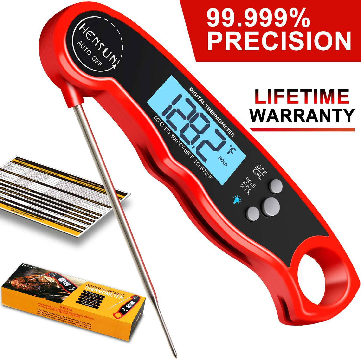 KOFOHO Meat Food Thermometer,Digital Instant Read Waterproof Kitchen Cooking Beef Candy Quick Read Thermometer with Foldable Probe for Oil Deep Fry BBQ Grill Smokers by KOFOHO