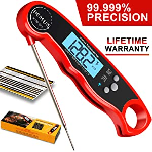 Digital Meat Thermometer-HENSUN Instant Read Thermometer-Waterproof Meat Thermometer Oven Safe with Folding Probe-BBQ Or Grilling, with Magnetic | Backlight & Calibration | Quick, Smart Cooking