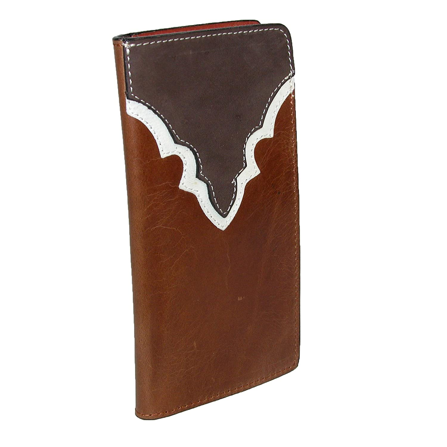 CTM® Men's Heavy Duty Leather Western Rodeo Checkbook Cover, Brown IM-4174345-BRN