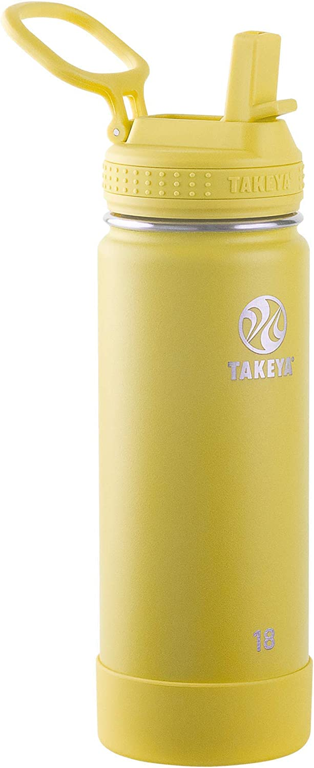Takeya Actives Insulated Water Bottle w/Straw Lid, Canary, 18 Ounces
