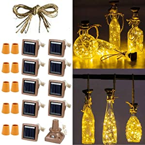Solar Powered Wine Bottle Lights, 10 Pack 20 LED Waterproof Solar Cork Lights Solar Lights Bottles for Indoor and Outdoor Decoration (Warm White)