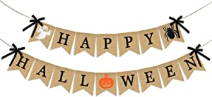 Happy Halloween Burlap Banner | Halloween Mantel Banner | Halloween Banner Indoor Outdoor | Halloween Banner Decoration | Halloween Decor for Mantle Fireplace Home Office | Halloween Party Decorations Supplies