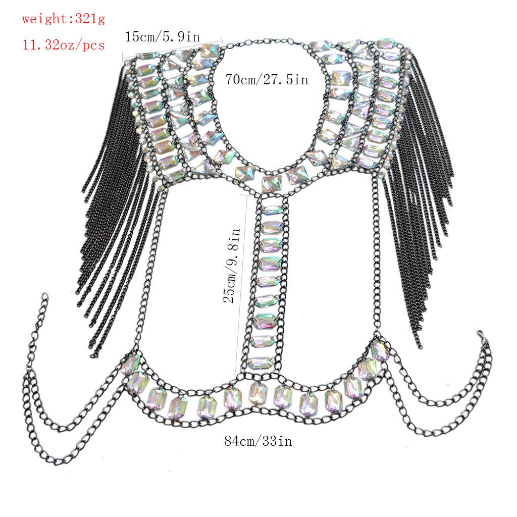 Connie Cloris Women Sexy Jewelry Night Shop Costume Shoulder Body Chain (Black -Shoulder Body Chain) by Connie Cloris (Image #2)