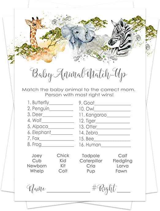Amazon Com Jungle Animal Baby Shower Animal Matching Game Pack 25 Cards Fun Guess The Pair Activity Sprinkle Adults Groups Kids Birthday Royal Prince Party Supplies Neutral