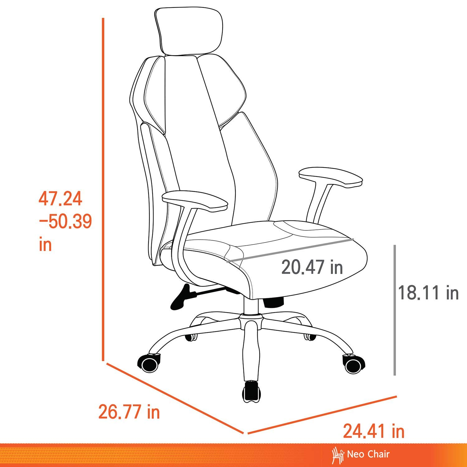 Ergonomic Office Chair, High Back Gaming Chair Computer Chair Modern Home Swivel Chair with Headrest,Gray by HYRL