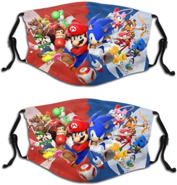 Sonic The Hedgehog Kids Reusable Face Cover Dustproof Mask for Boys Girls (2-Pack)