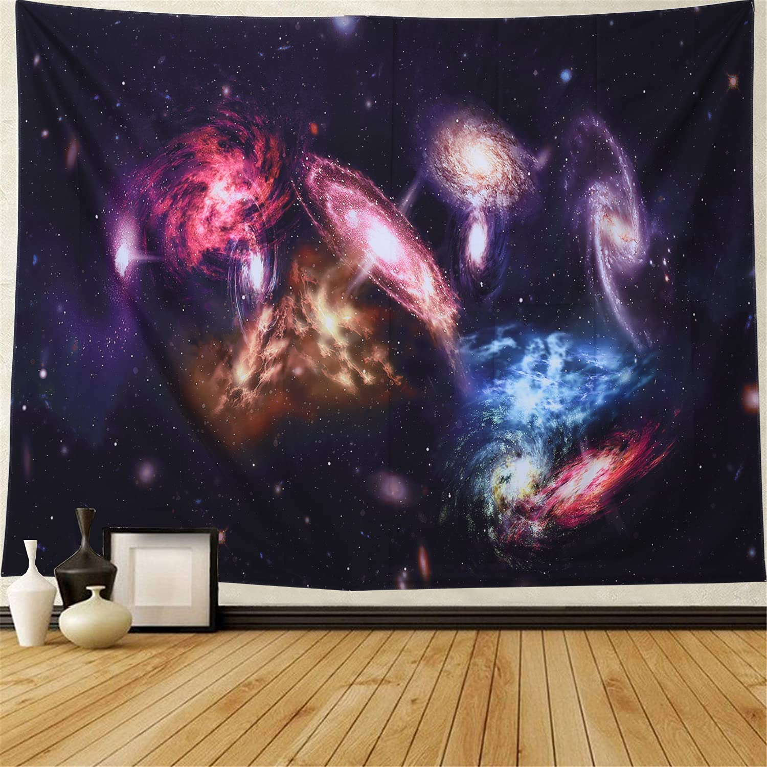 Black Starry Tapestry Forest Tapestry - Tapestry For Bedroom Room Decor Wall Hanging Trippy Decor Tapestr, Suitable For Bedroom, Living Room, Dormitory, Wall Decoration (Galaxy Tapestry)