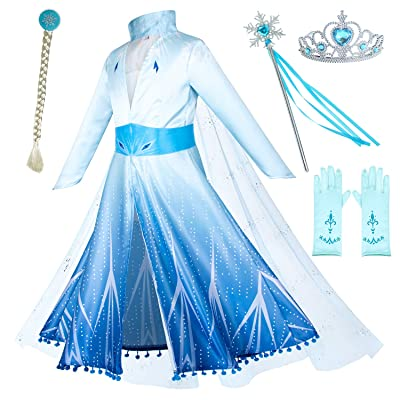 Princess Snow Queen Act 2 Costumes with Wig,Crown,Mace,Gloves Accessories 3T-10: Clothing