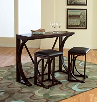 Standard Furniture 11961 Folding 3 Piece Bar Height Dining Table In Deep  Brown