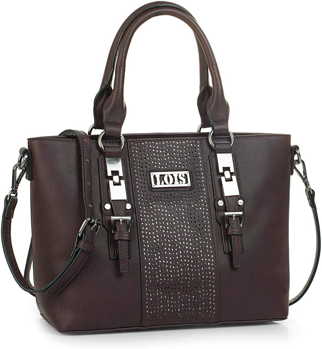 Lois - Bolso de Mujer Grande Tipo Shopping. Cuero PU con Hebillas. cómodo y para Viaje Compras o Diario. Bueno Bonito y Elegante. Calidad y Moda. 95881, Color Marron