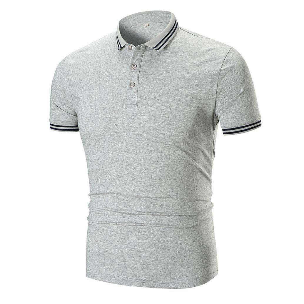 Hombres Verano Casual Turn Down Cuello Pullover Manga Corta Camiseta Top Blusa: Amazon.es: Ropa y accesorios