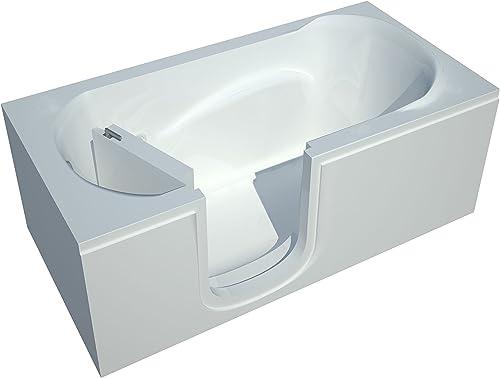 Spa World Venzi Vz3060silws Rectangular Soaking Walk-In Bathtub, 30×60, Left Drain, White