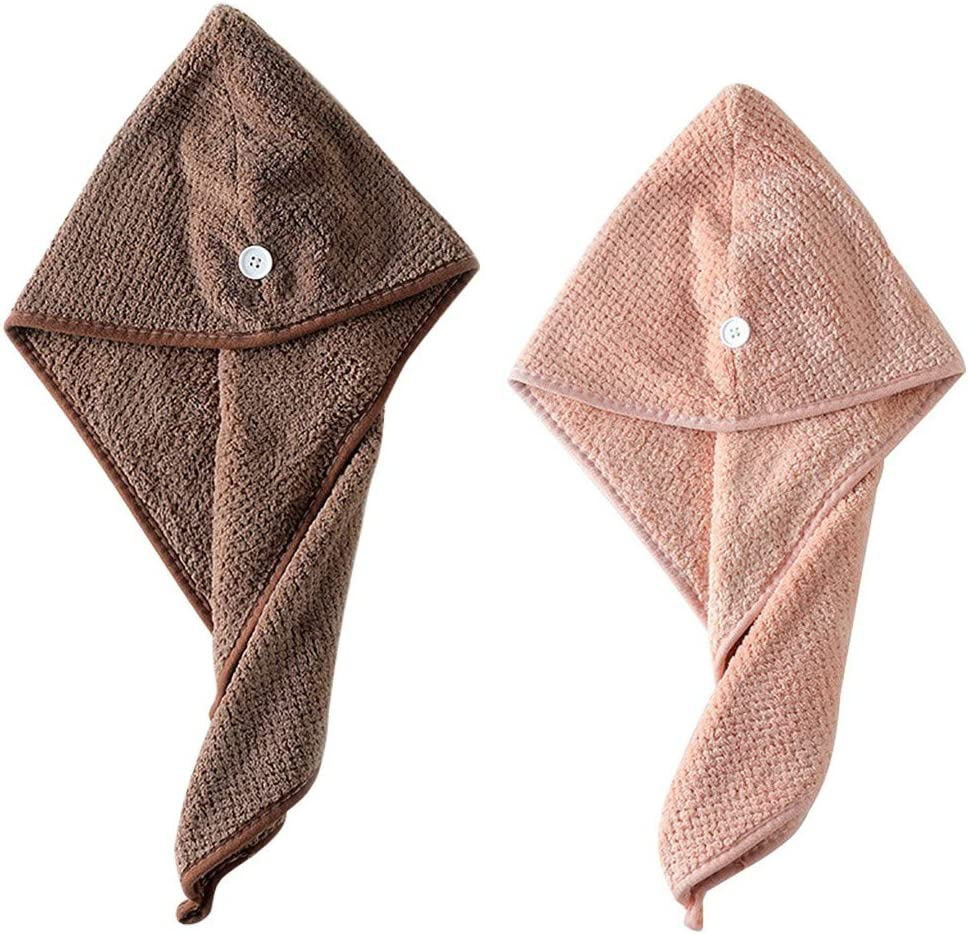 Anyren 2PC Microfiber Bath Towel Hair Dry Hat, Dry Hair Cap Quick Drying Lady Head Wrap Absorbent Shower Caps