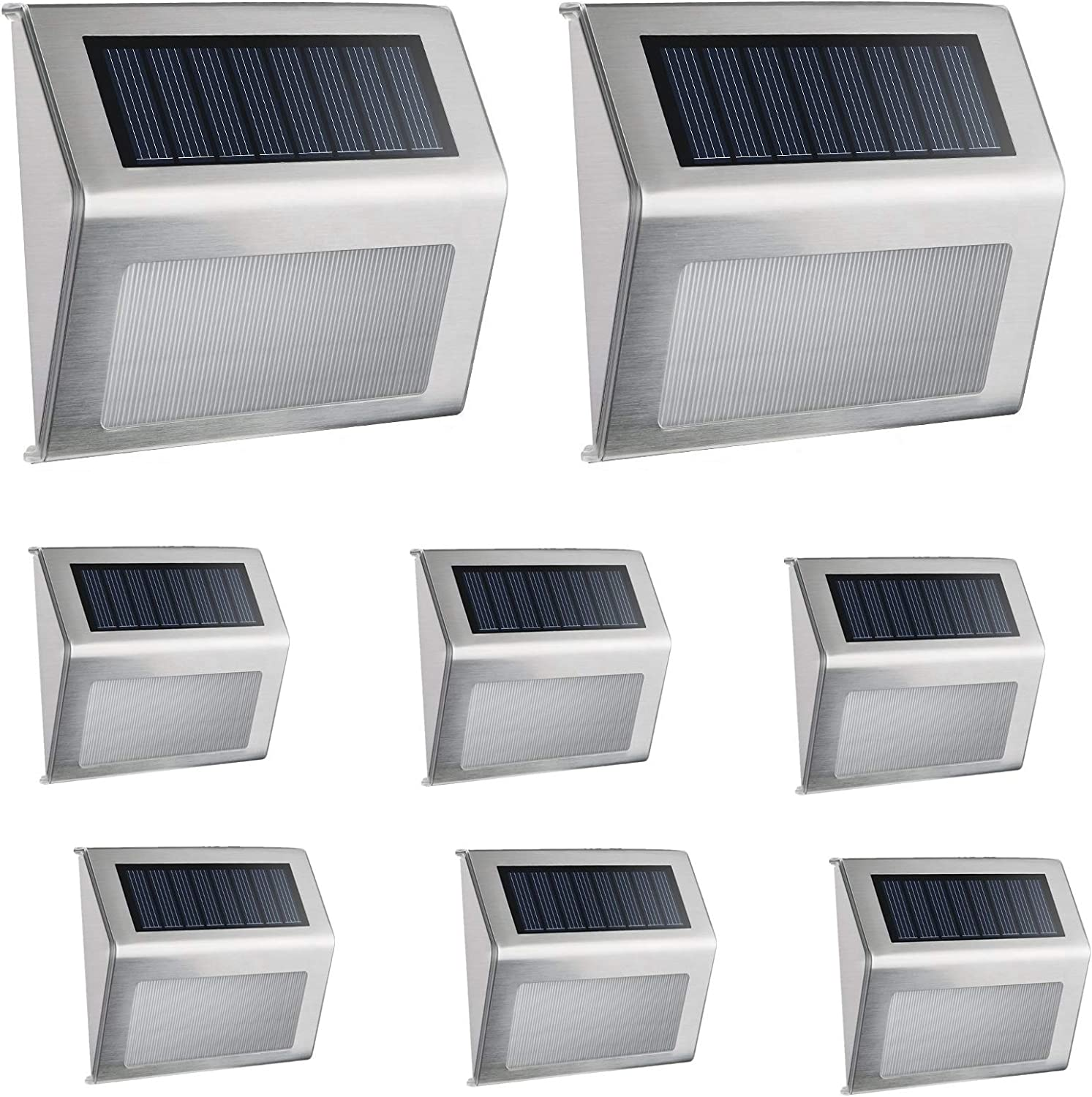 Solar Light,Outdoor Waterproof Stainless Steel Solar LED Step Light; Illuminates Stairs Patio Deck Yard Garden Outsides,Path,Fence Post lamp(8 Pack)