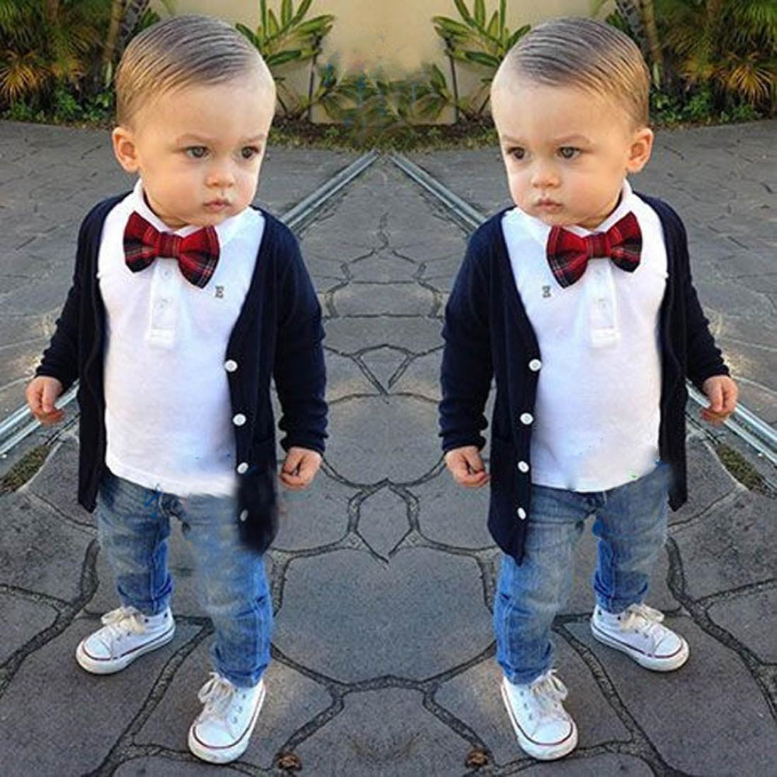 d90526252dcc Scaling❤ Fashion Baby Boy Outfits Summer Gentleman Bow Tie T Shirt  Tops+Jeans Long Pant+Coat 3pcs Clothes Set
