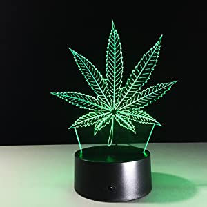 DowBier 3D Illusion Multi Colors USB Sleeping Night Light Desk Lamp Room Decoration (Marijuana Weed Leaf)