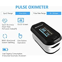 MEDITIVE Fingertip Pulse and Oxygen Monitor, Upgraded Spo2 Pulse Oximeter, Blood Oxygen Saturation with OLED Display, Lanyard for Children and Adults, FDA/CE Certification