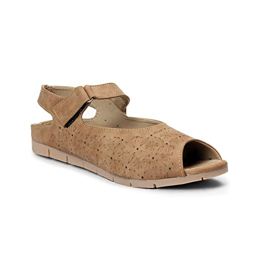 Meriggiare Women Beige Synthetic Flats Fashion Sandals at amazon