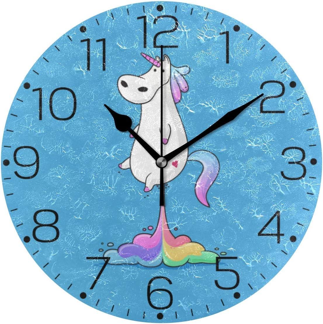 Round Wall Clock 10 Inch A Cute Fat Unicorn Farting Rainbow Funny ...