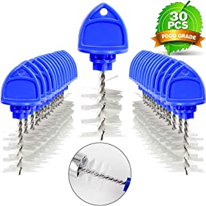 【30 PCS】MRbrew Beer Tap Plug Brush, Faucet Spout Cleaning Plug Brush Kit with Overnight Blue Hygiene Cap, for Most Standard American Draft Beer Faucet