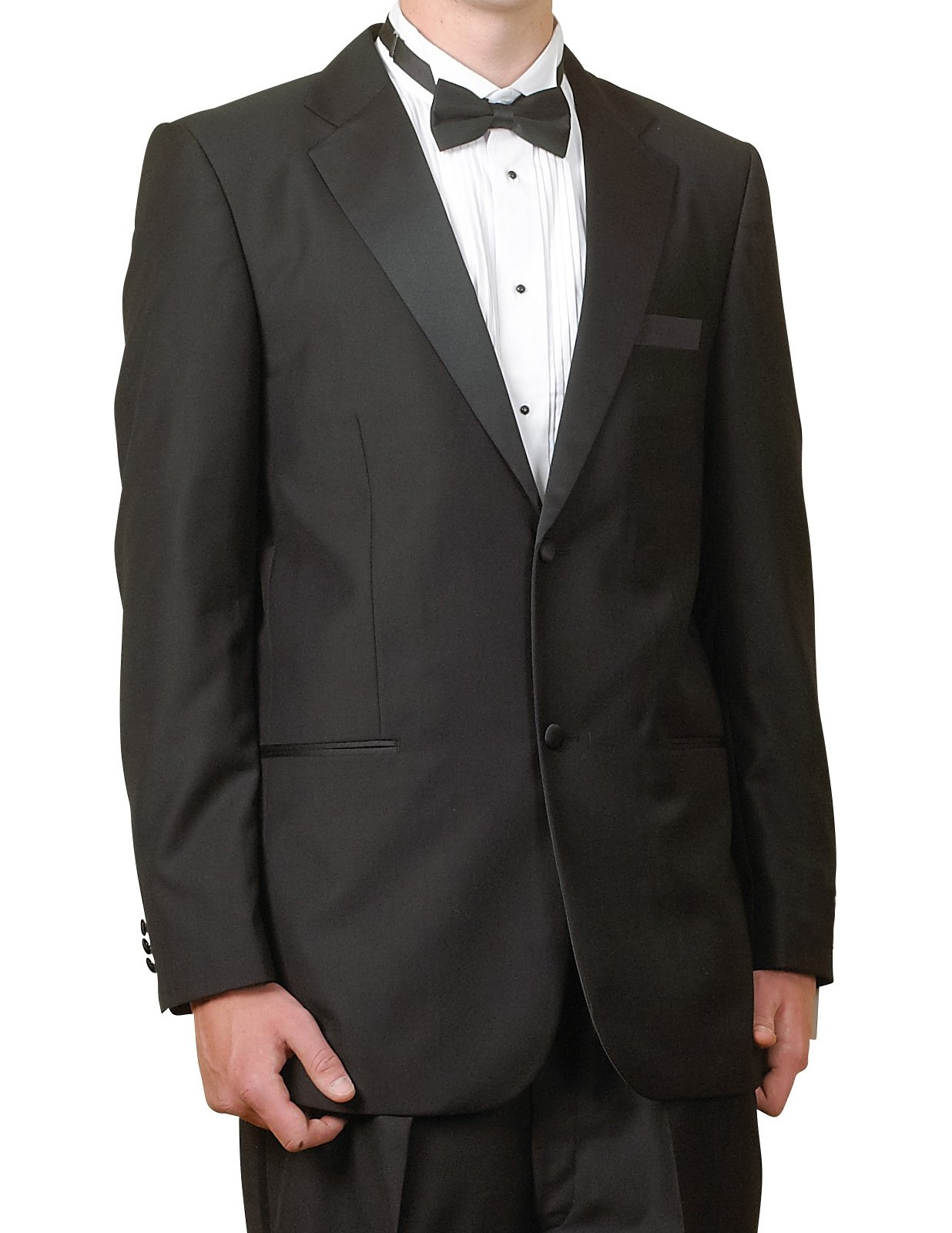New Mens 2 Button Black Tuxedo Suit, size 56 Regular - Includes Jacket and Pants