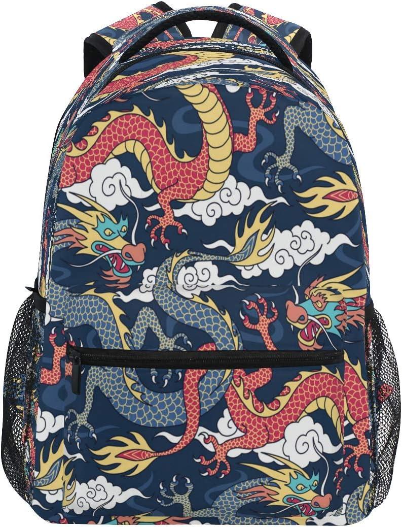 QMXO Blue Red Dragons Fighting Clouds School Backpack for Boys Girls Large Capacity Bookbag Travel Bag Shoulder College Daypack School Bag Bookbag Hiking Camping