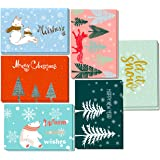 4 X 6 Christmas Cards Bulk Boxed Set of 30 - Elegant Heart Warming Xmas Cards, Wonderland Happy Holiday Greeting Cards with Envelopes, Each Modern Design 5 sets, White Envelopes Included