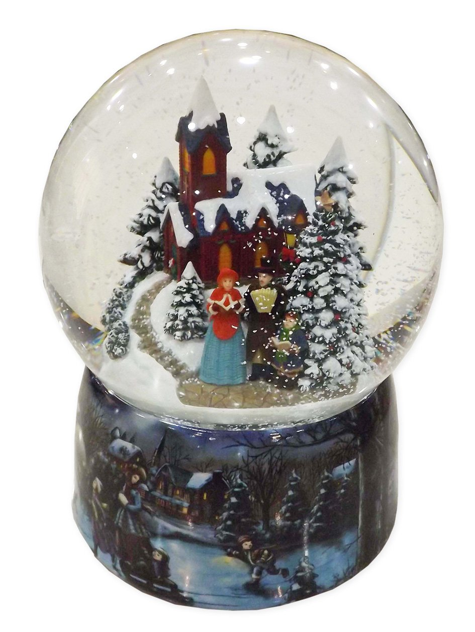 Musicbox Kingdom Porcelain Snow Globe with a Winter Church Scene with a Singing Family with a Christmas Tune is Played Decorative Item by Musicbox Kingdom