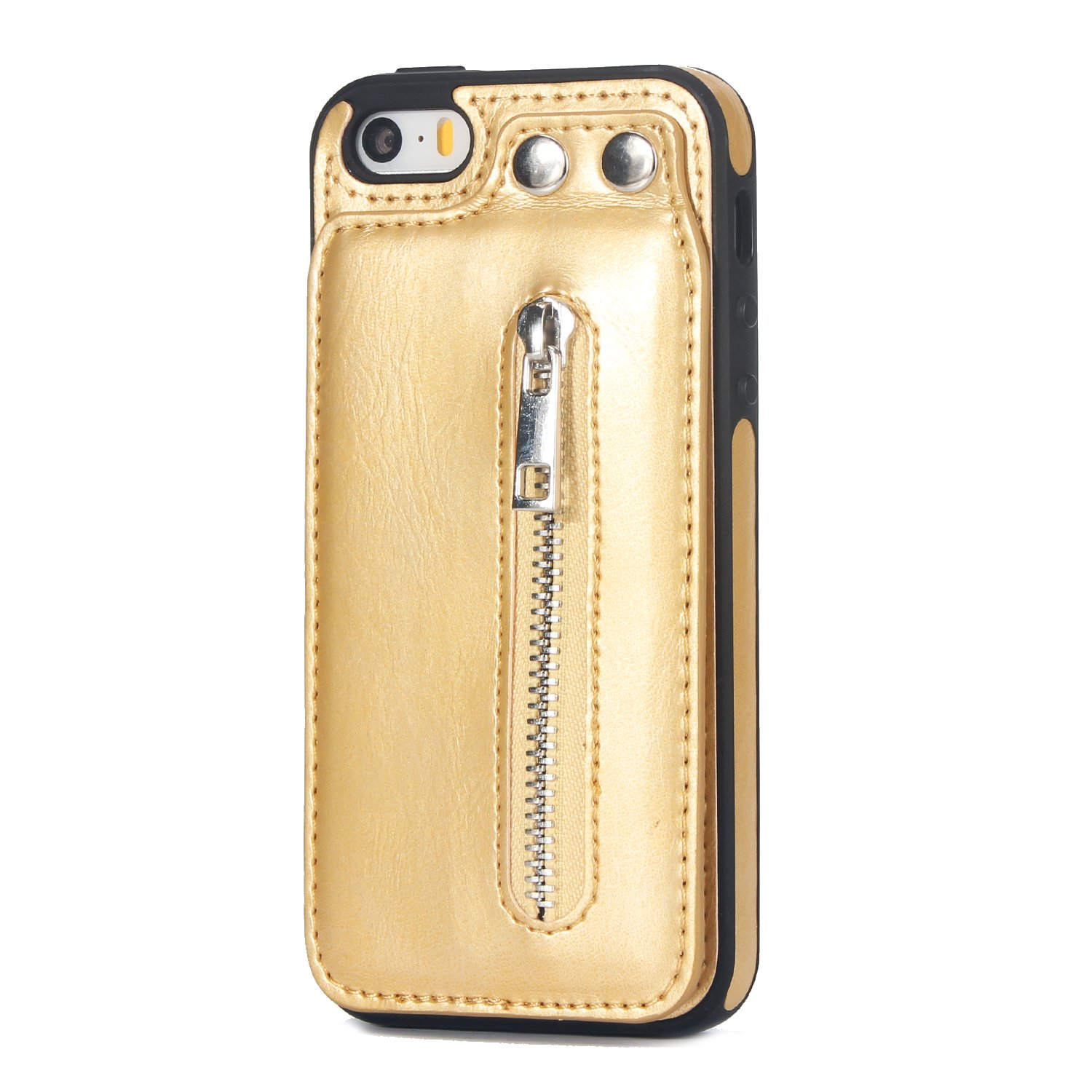 Case for iPhone 5S/iPhone SE Flip Case Premium PU Leather Wallet Cover with Card Holder Money Pocket Durable Shockproof Protective Cover for iPhone 5S/SE,Gold by ikasus