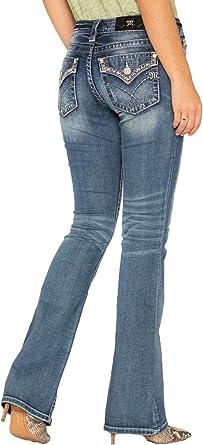 Amazon Com Miss Me Pantalones Vaqueros Para Mujer Color Plateado Metalico 25 Clothing
