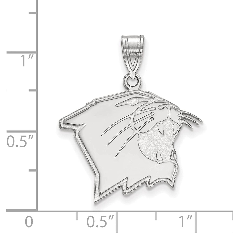 925 Sterling Silver Rhodium-plated Laser-cut Northwestern University Large Pendant