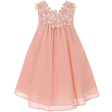 4ea2ee39634f Image Unavailable. Image not available for. Color: CrunchyCucumber Little  Girls A-Line Chiffon Dress V-Neckline with Beautiful Flower Patch and