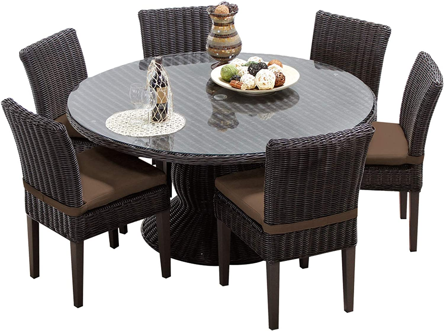 Amazon Com Tk Classics Venice 60 Inch Outdoor Patio Dining Table With 6 Armless Chairs Cocoa Furniture Decor