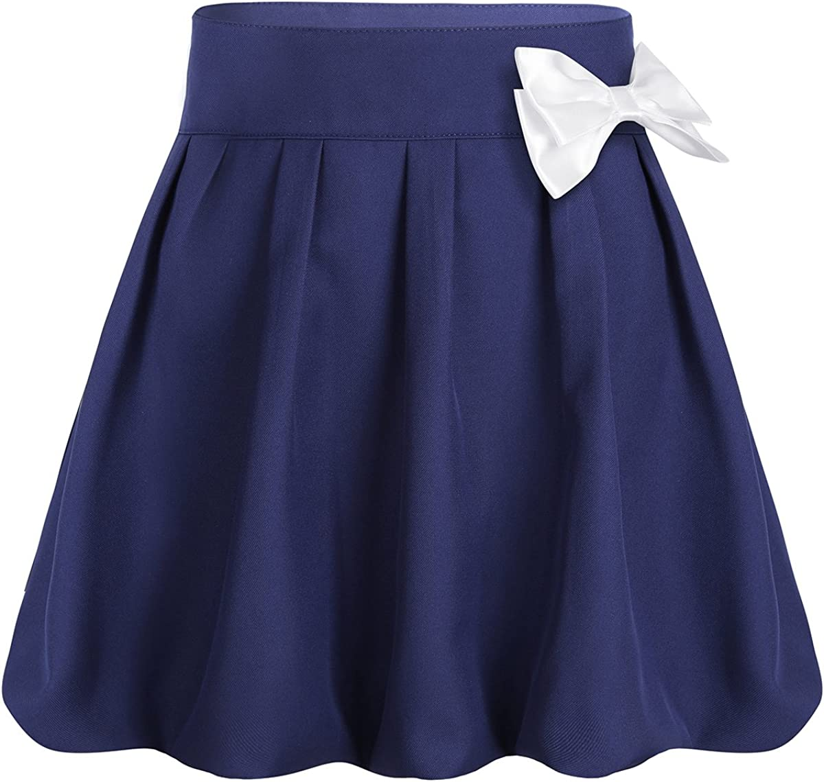 TiaoBug Kids Girls Pleated Scooter Skirt A-line Bowknot Skort with Hidden Shorts School Uniform Skirt