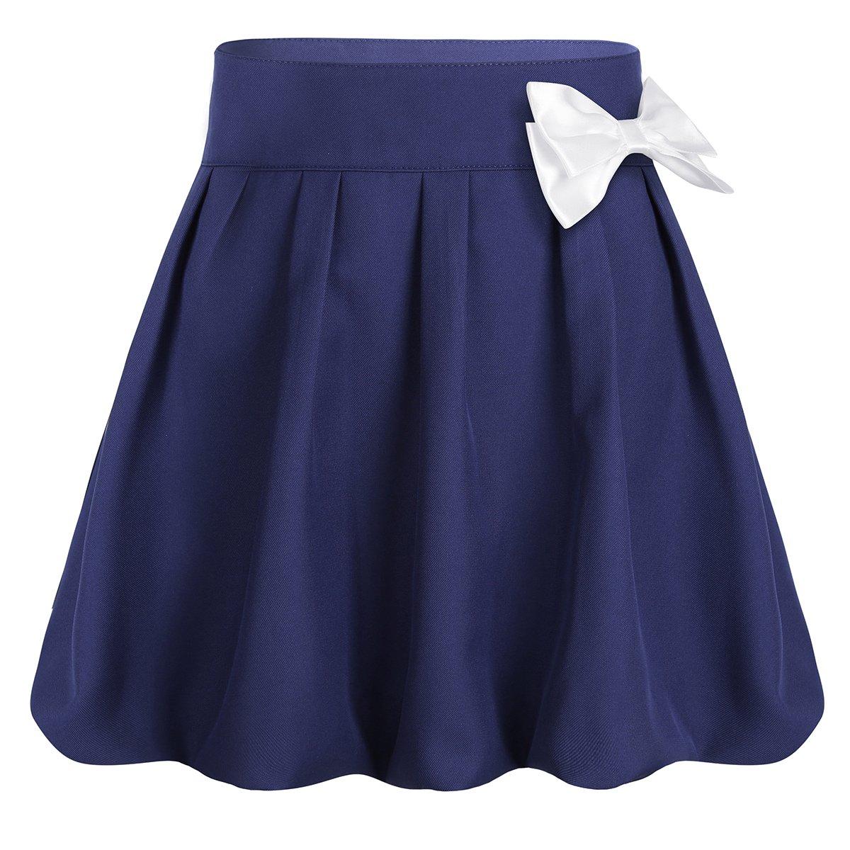 YiZYiF Kids Girls Elastic Soft Plain Uniform Pleated Skirt with Hidden Shorts Schoolwear Navy Blue 6