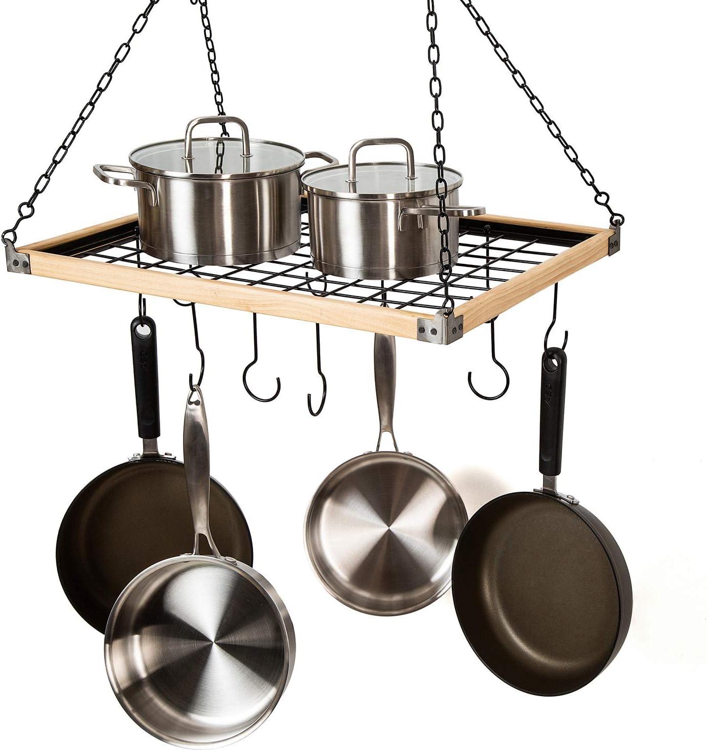 Stainless Steel Pots Pans Rack Kitchen Wall Storage Shelf Cookware Hanger Hooks