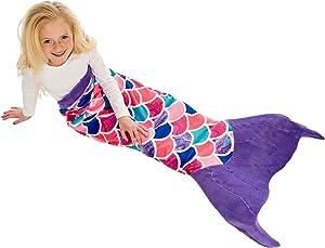 Fin Fun Mermaid Tail Blanket for Girls - Cuddle Tail Slumber Bag (Sea Orchid, Kids)