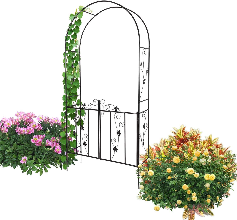 Kinbor Outdoor Garden Arch Trellis, Garden Arbor with Gate for Climbing Plants Vine, Black