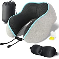 Shengsite Memory Foam Travel Pillow with 3D Sleep Mask and Travel Bag