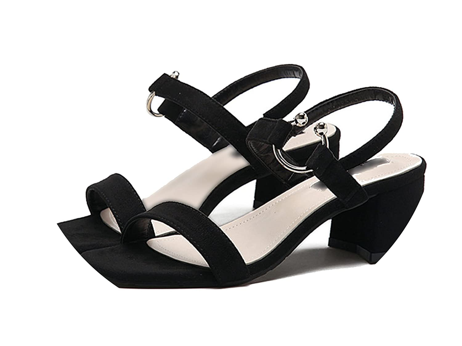 Lovely-Shop Summer Women Sandals Concise Metal Buckle Square high Heels Basic Casual Flock Shoes Woman Sandalias