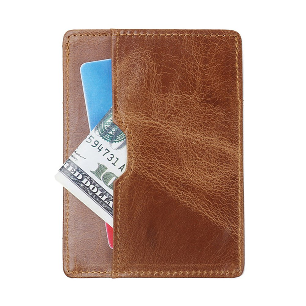 ywbtuechars Retro Genuine Leather Ultra-thin RFID Protective Business ID Credit Card Holder Genuine Leather Wallets for Men