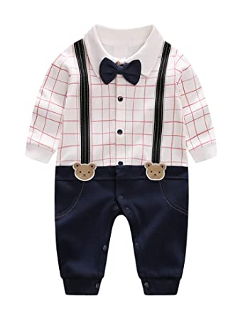 45c9018ea92e3 D.B.PRINCE Infant Newborn Baby Boy Long Sleeves Gentleman Romper Suits  Dress Clothes Outfits with Bow Tie