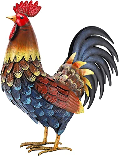 chisheen Rooster Decor Garden Statue Chicken Yard Art Sculpture Outdoor
