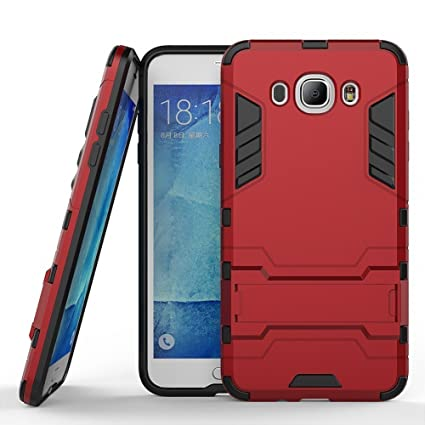Funda para Samsung Galaxy J7 2016 (5,5 Pulgadas) 2 en 1 Híbrida Rugged Armor Case Choque Absorción Protección Dual Layer Bumper Carcasa con pata de ...