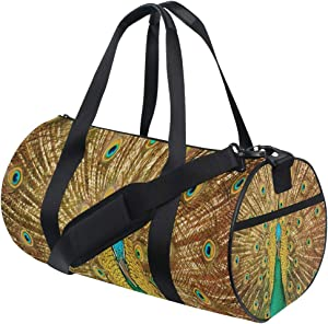 Foldable Duffle Bag Beautiful Peacock Lightweight Travel Sports Gym Bags Overnight for Women Men
