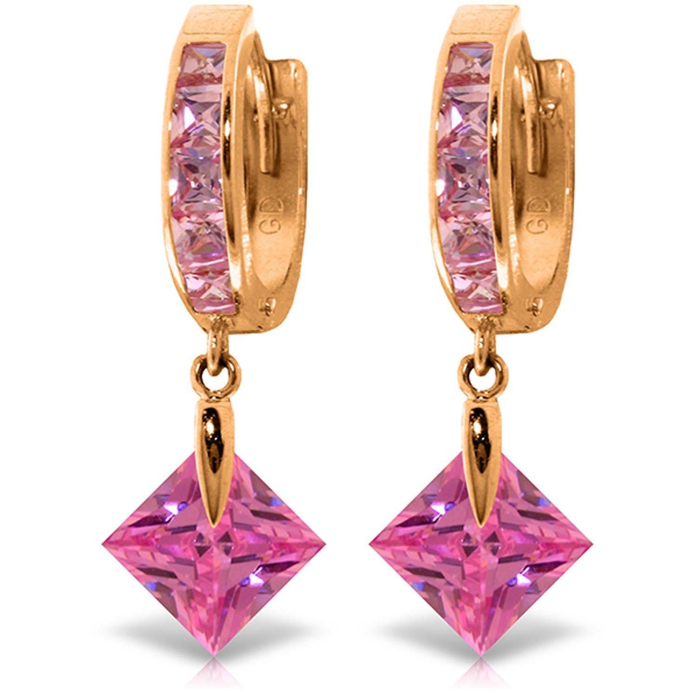 7.58 Carat 14K Solid Gold Dangling Cubic Zirconia Hoop Earrings