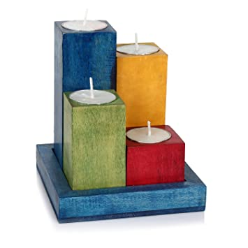 Buy Hashcart Wooden Tealight Candle Holder Set With Tray In Multicolor Finish For Home Decor Gift Online At Low Prices In India Amazon In