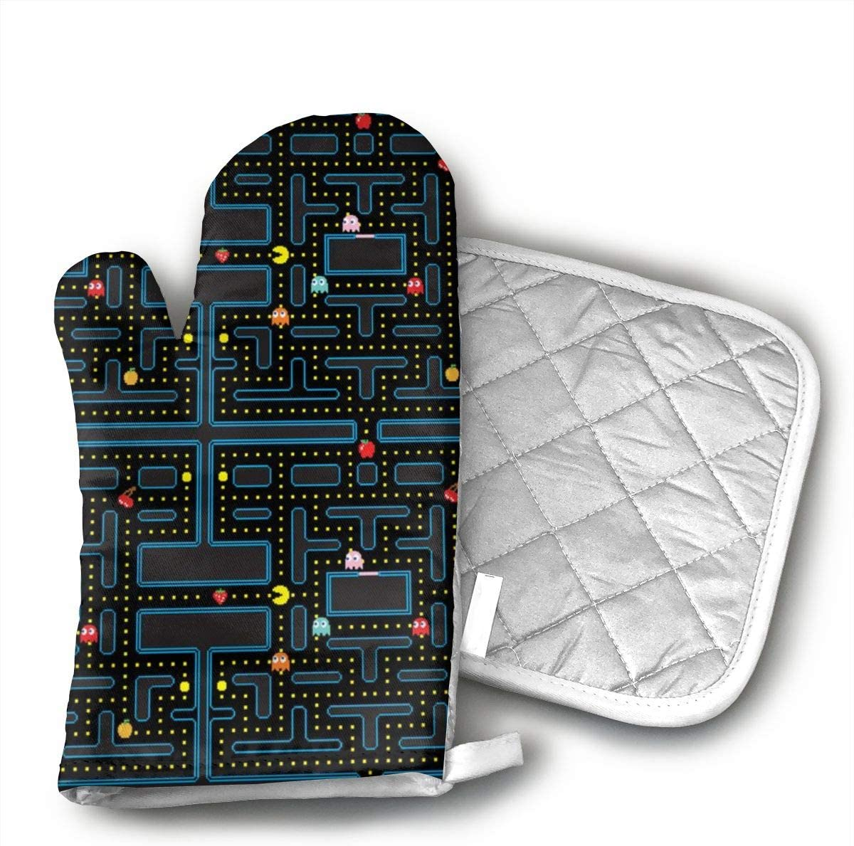 Pacman Retro Video Game Pattern Oven Mitt/Glove Square Potholder, Hot Pads and Cotton Microwave Oven Mitts Heat Resistant
