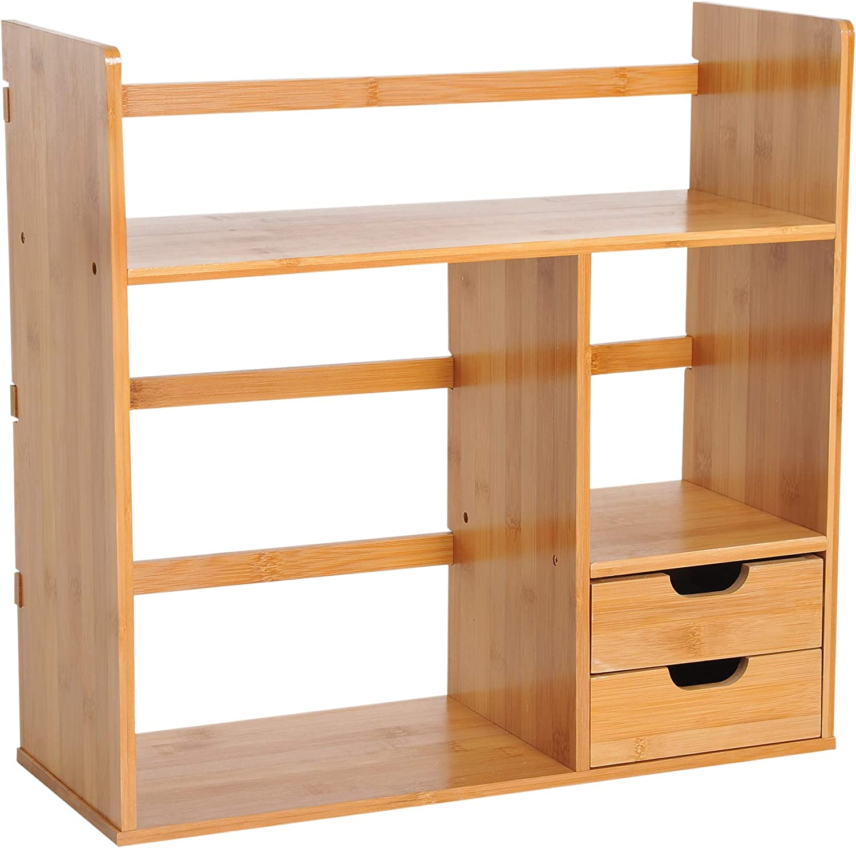 HOMCOM Organizador de Escritorio Mesa de Bambú Estantería Sobremesa Estante de Almacenamiento Multifuncional para Oficina Libros 48x19.5x46cm